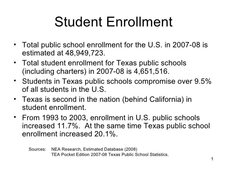 Student Enrollment <ul><li>Total public school enrollment for the U.S. in 2007-08 is estimated at 48,949,723. </li></ul><u...