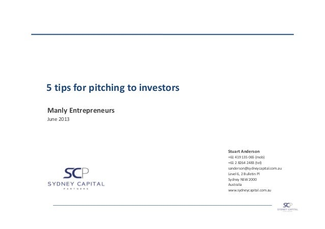 5 Tips for Pitching to Investors - Manly Entrepreneurs Meetup