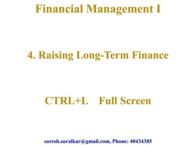 Raising long term finance theory