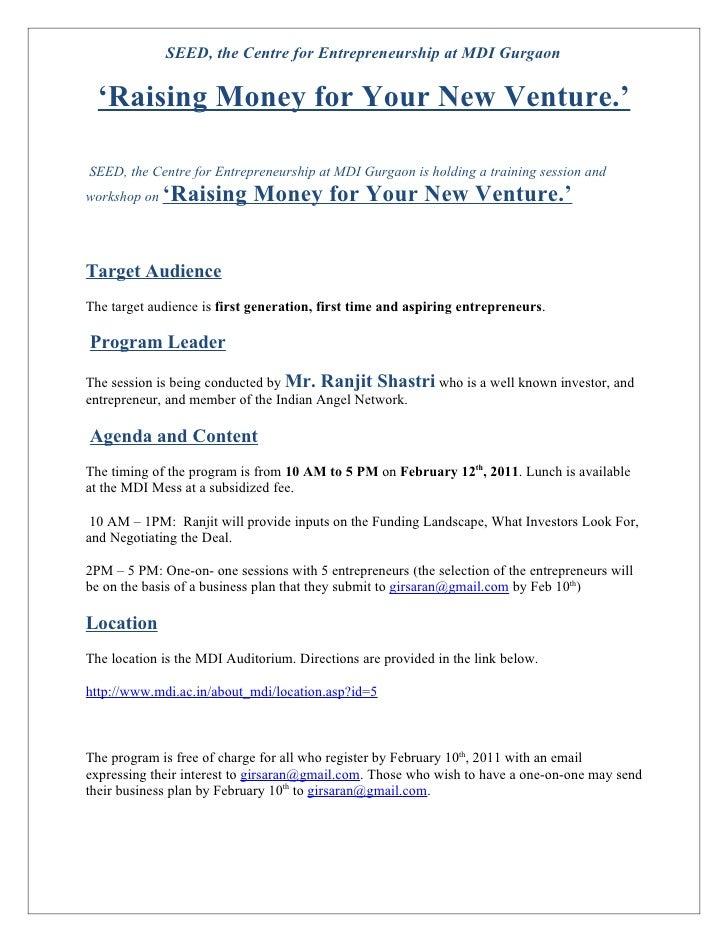 Raising money for your new venture