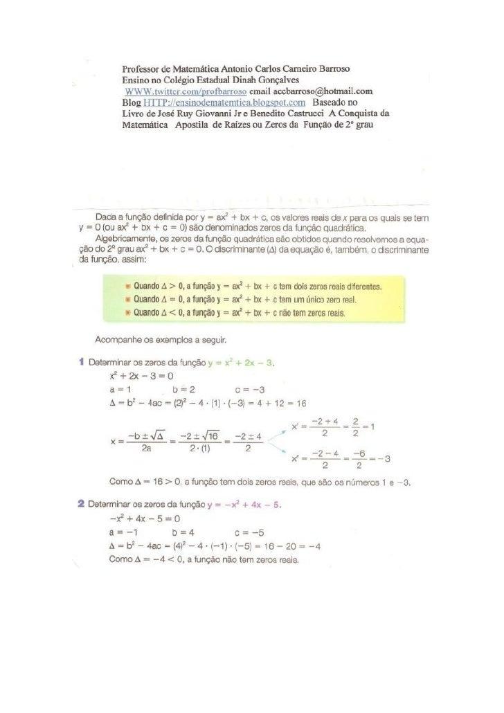 Raizes ou zeros da função de 2º grau