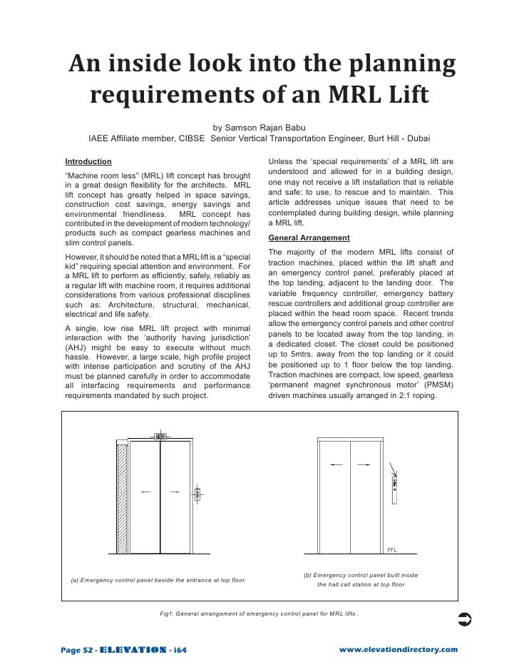 An inside look into the planning   requirements of an MRL Lift                                      by Samson Rajan Babu  ...