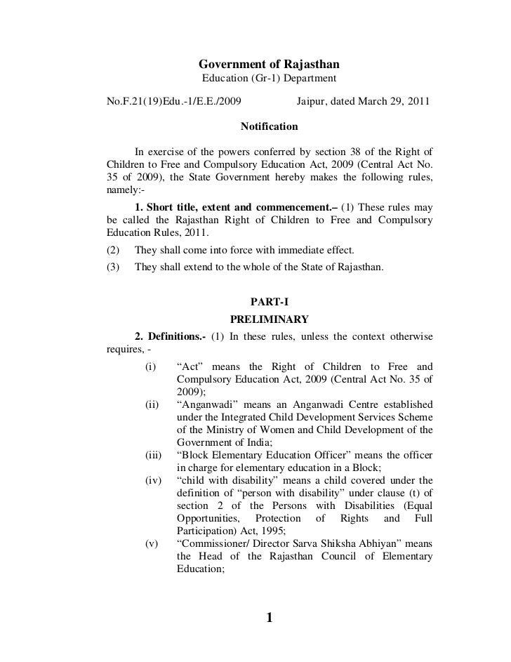 Government of Rajasthan                     Education (Gr-1) DepartmentNo.F.21(19)Edu.-1/E.E./2009                Jaipur, ...