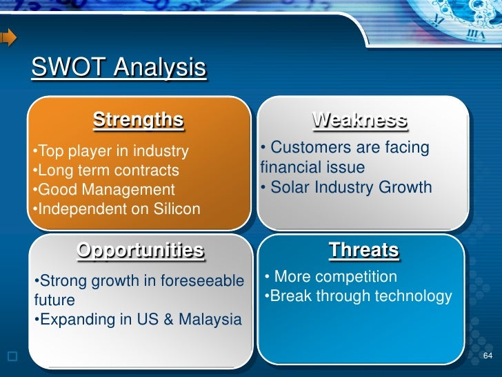 swot analysis of solar panel Thoroughly examining key aspects of the solar power industry as well as crucial   this swot-analysis has revealed useful insight in the strategic position of.