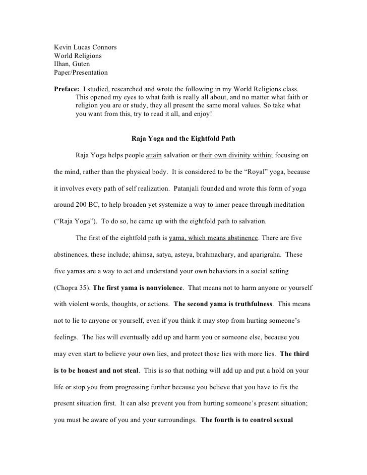 Kevin Lucas Connors World Religions Ilhan, Guten Paper/Presentation  Preface: I studied, researched and wrote the followin...