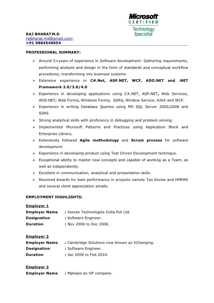 Net developer resume 5 years
