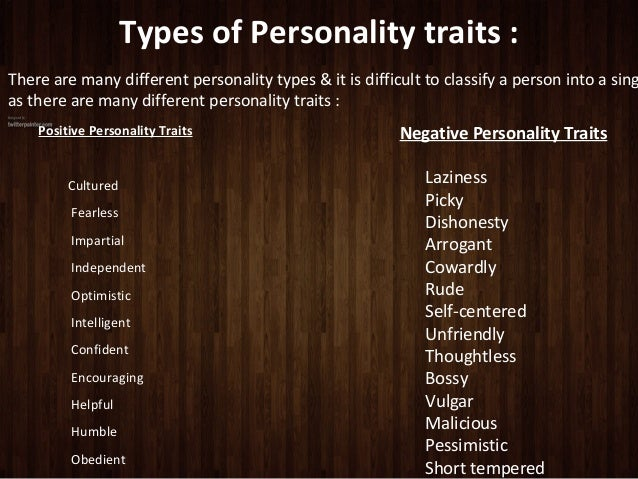 big five personality traits essay A person's personality trait can define who they are some can tell these traits by the way a person reacts to certain situations, personal or on the job.
