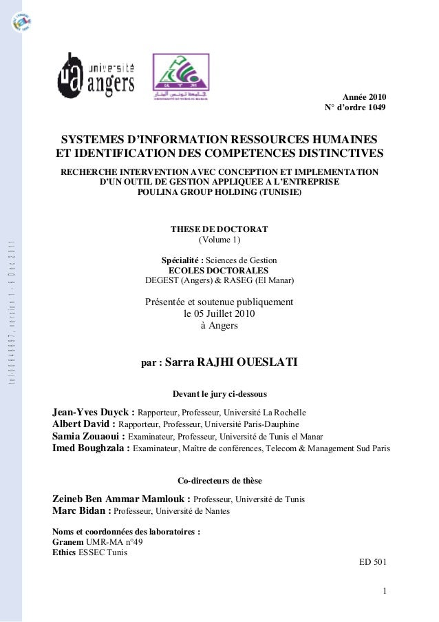 Année 2010 N° d'ordre 1049 SYSTEMES D'INFORMATION RESSOURCES HUMAINES ET IDENTIFICATION DES COMPETENCES DISTINCTIVES RECHE...