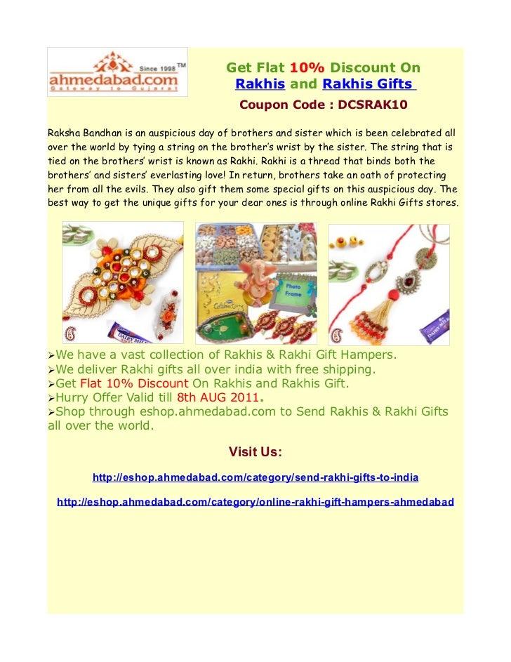 Get Flat 10% Discount On                                        Rakhis and Rakhis Gifts                                   ...