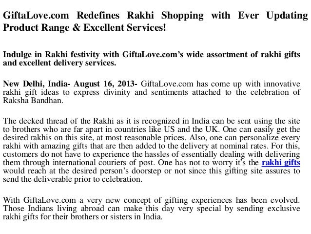 GiftaLove.com Redefines Rakhi Shopping with Ever Updating Product Range & Excellent Services! Indulge in Rakhi festivity w...