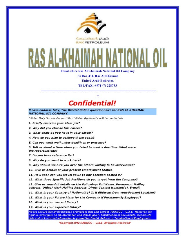 Head office Ras Al Khaimah National Oil Company                                          Po Box 434. Ras Al Khaimah       ...