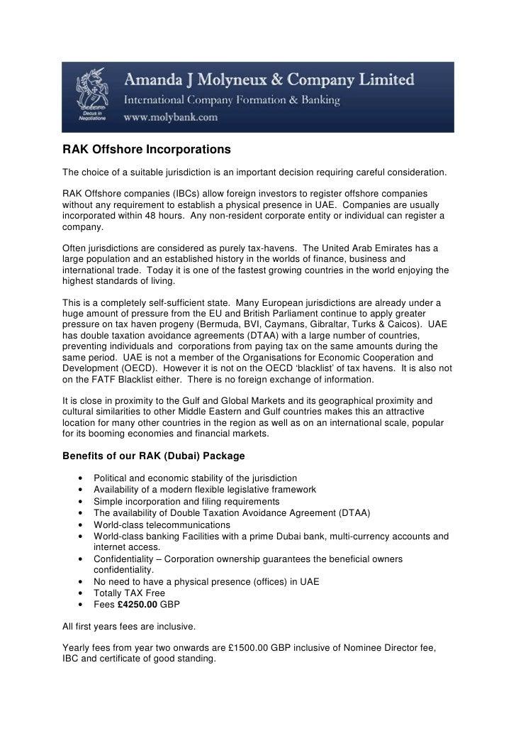Rak Offshore Incorporationsx