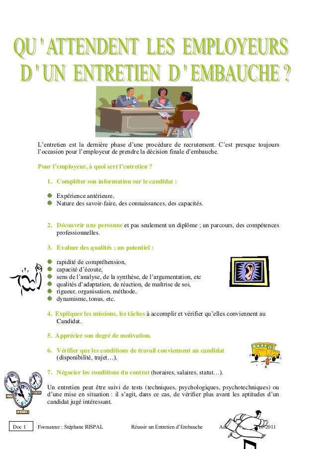 Formateur : Stéphane RISPAL Réussir un Entretien d'Embauche Année Scolaire 2010-2011 L'entretien est la dernière phase d'u...