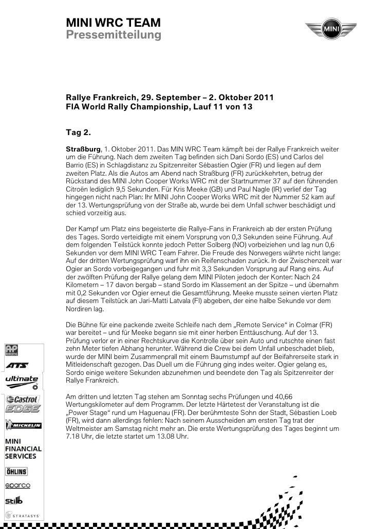MINI WRC TEAMPressemitteilungRallye Frankreich, 29. September – 2. Oktober 2011FIA World Rally Championship, Lauf 11 von 1...