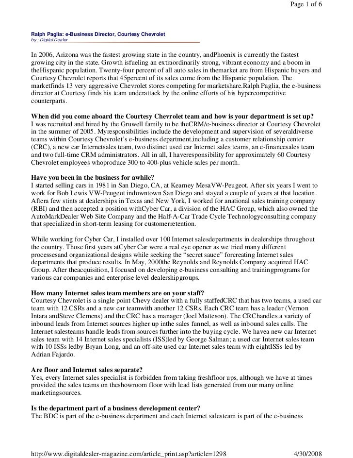 Page 1 of 6    Ralph Paglia: e-Business Director, Courtesy Chevrolet by : Digital Dealer   In 2006, Arizona was the fastes...