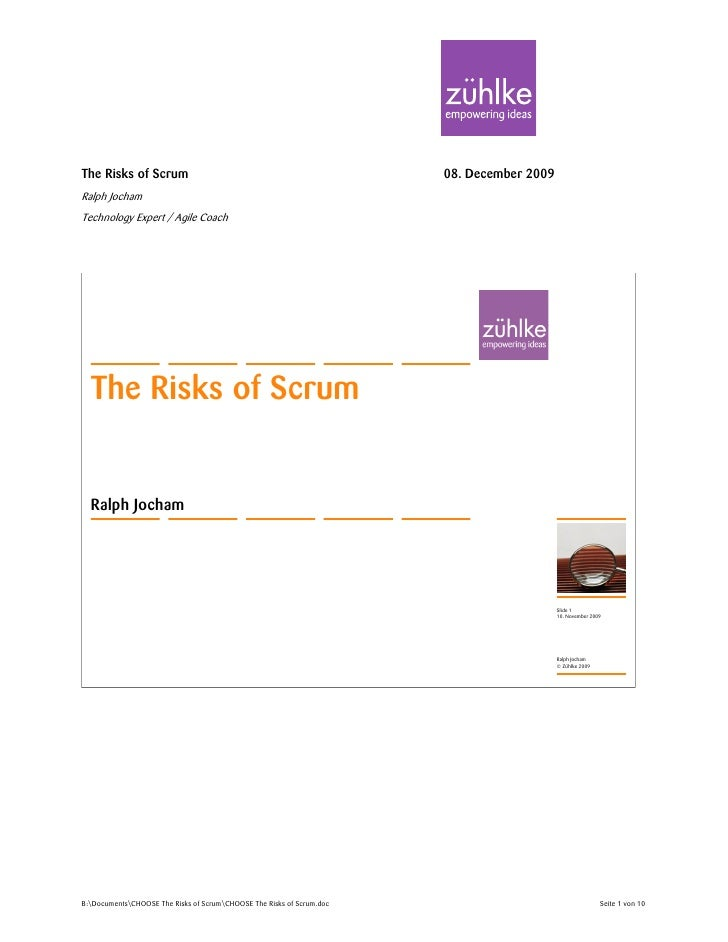 Ralph Jocham The Risks Of Scrum Handout