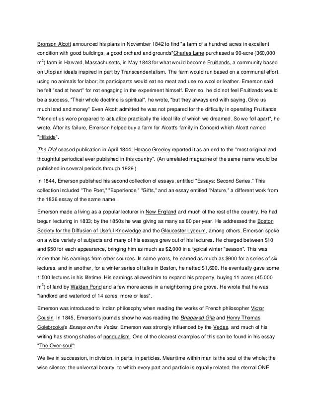 ralph waldo emersons essay Bio of ralph waldo emerson ralph waldo emerson was born in massachusetts on may 25, 1803 he attended the boston latin school, followed by the harvard school of divinity.