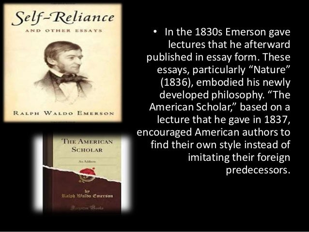 essays and lectures emerson Ralph waldo emerson (1803 —1882) was a renowned lecturer and writer, whose ideas on philosophy, religion, and literature influenced many writers, including henry david thoreau and walt whitman.