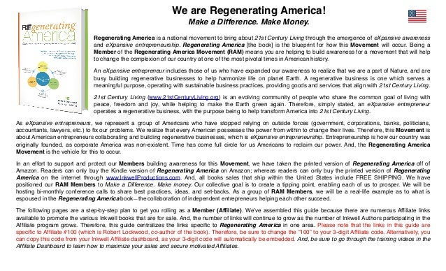 We are Regenerating America! Make a Difference. Make Money. Regenerating America is a national movement to bring about 21s...
