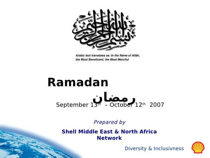 Ramadan Slides Prepared by Shell Middle East & North Africa Network