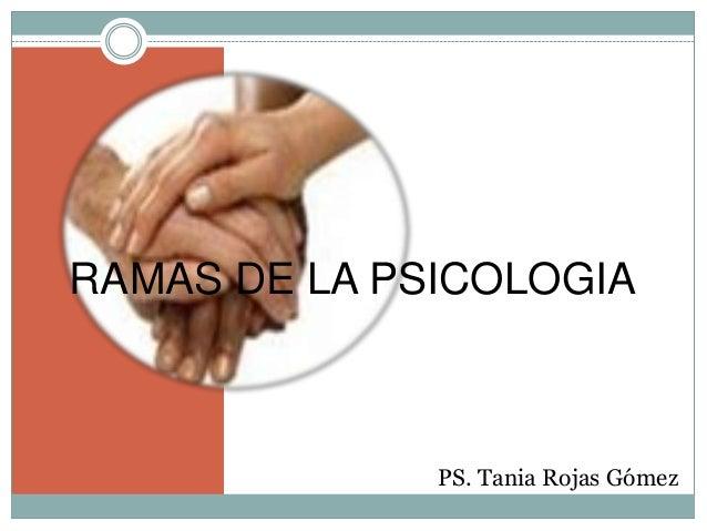 PS. Tania Rojas GómezRAMAS DE LA PSICOLOGIA