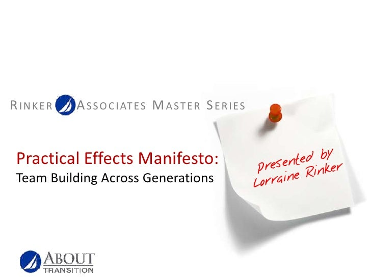 Practical Effects Manifesto:Team Building Across Generations<br />