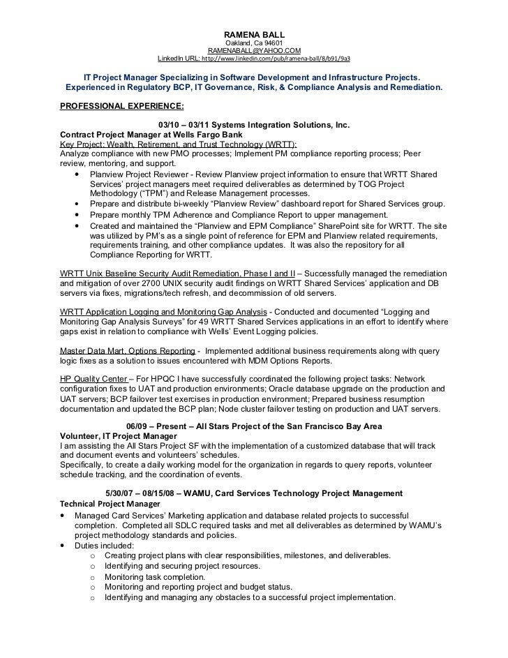 infrastructure manager resume infrastructure project manager resume - Unix Manager Resume