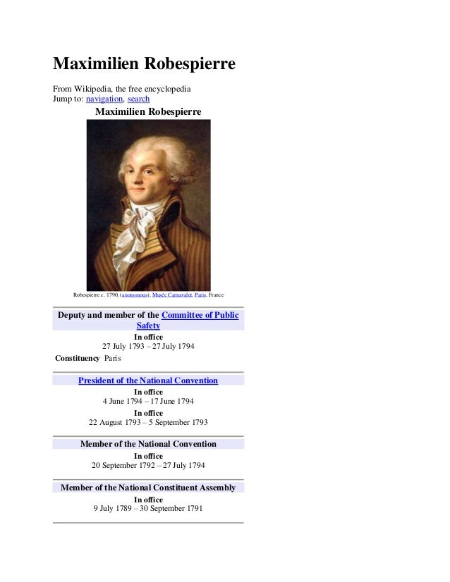 Maximilien RobespierreFrom Wikipedia, the free encyclopediaJump to: navigation, search              Maximilien Robespierre...