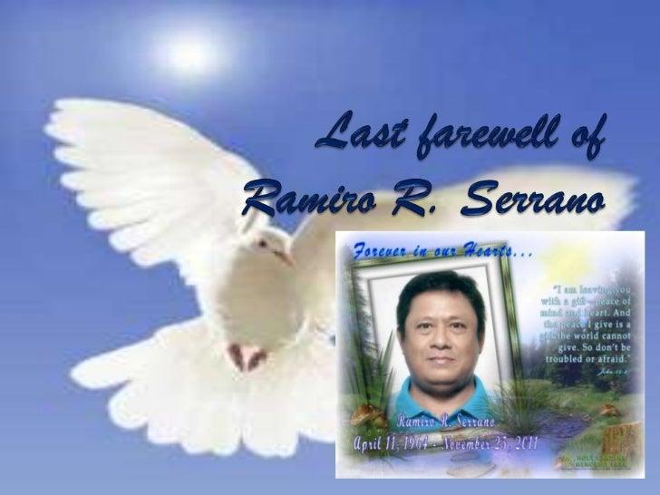 Last farewell of Ramiro R. Serrano