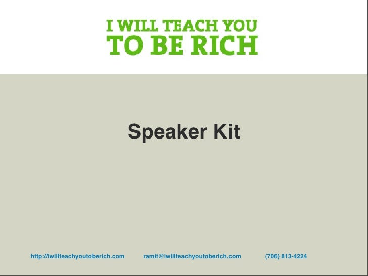 Ramit Sethi Speaking Kit 2009