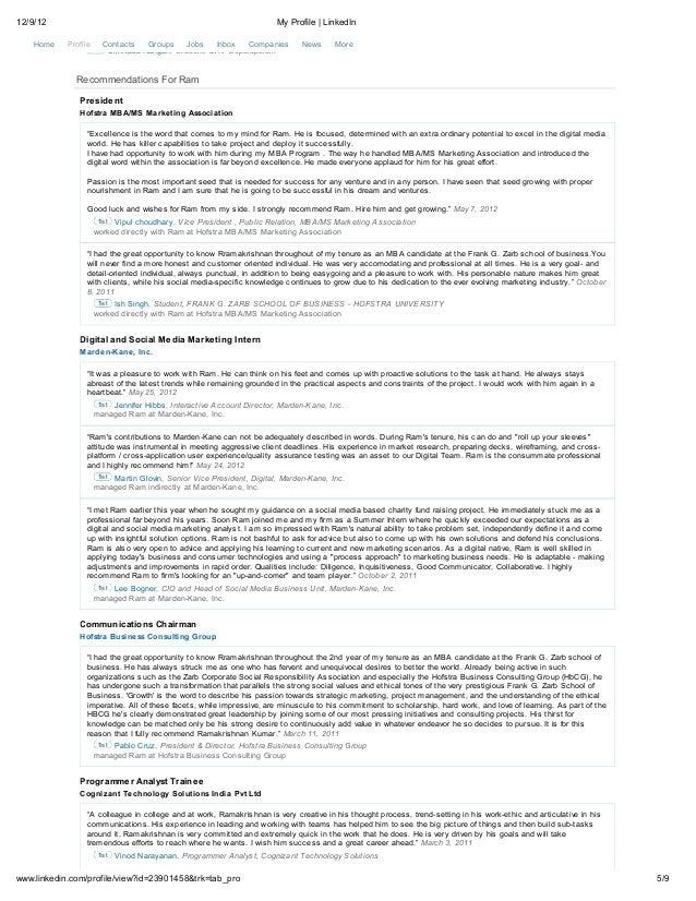 12/9/12                                                               My Profile | LinkedIn               Ram has 1 recomm...