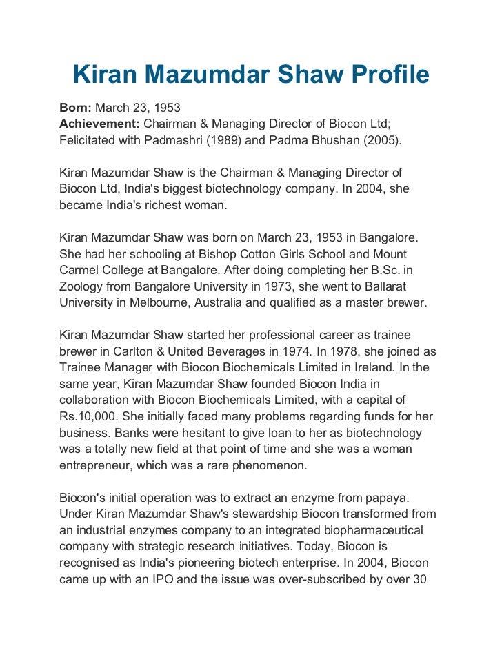 kiran mazumdar shaw is an indianentrepreneur she
