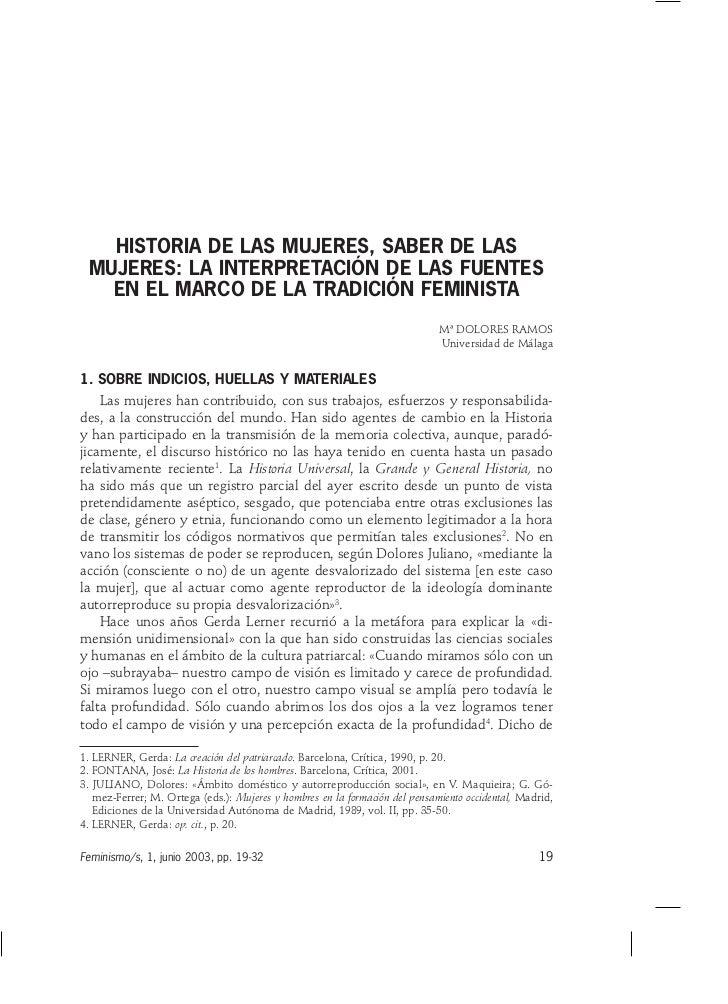 HISTORIA DE LAS MUJERES, SABER DE LAS MUJERES: LA INTERPRETACIÓN DE LAS FUENTES   EN EL MARCO DE LA TRADICIÓN FEMINISTA   ...