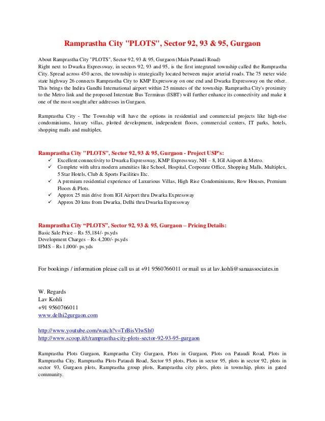 "Ramprastha City ""PLOTS"", Sector 92, 93 & 95, Gurgaon About Ramprastha City ""PLOTS"", Sector 92, 93 & 95, Gurgaon (Main Pata..."