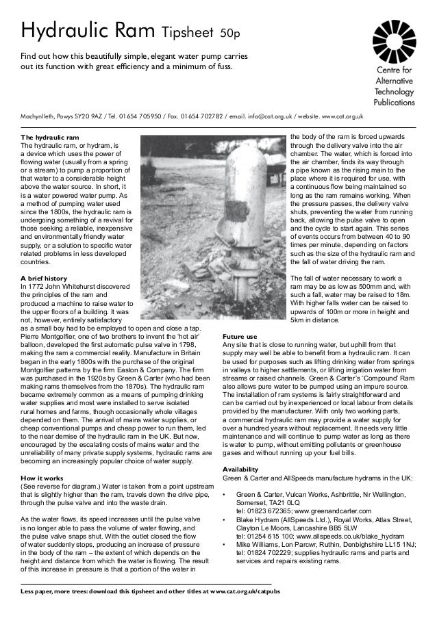 Hydraulic Ram Tipsheet 50pFind out how this beautifully simple, elegant water pump carriesout its function with great effi...