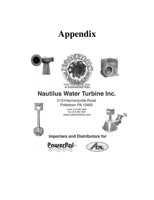 Nautilus Water Turbine Site Evaluations and Water Power Formulas