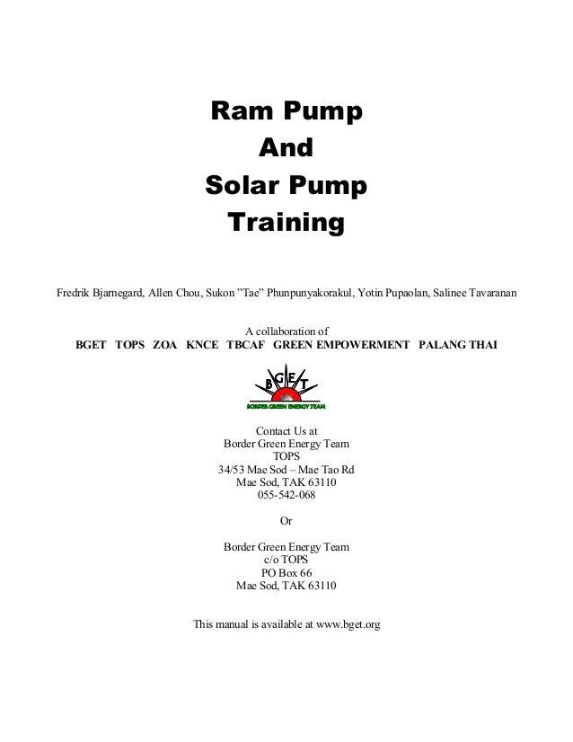 "Ram PumpAndSolar PumpTrainingFredrik Bjarnegard, Allen Chou, Sukon ""Tae"" Phunpunyakorakul, Yotin Pupaolan, Salinee Tavaran..."