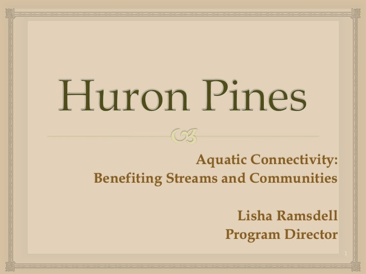 Aquatic Connectivity:Benefiting Streams and Communities                     Lisha Ramsdell                   Program Direc...