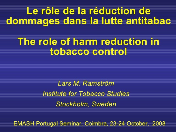 The role of harm reduction in tobacco control