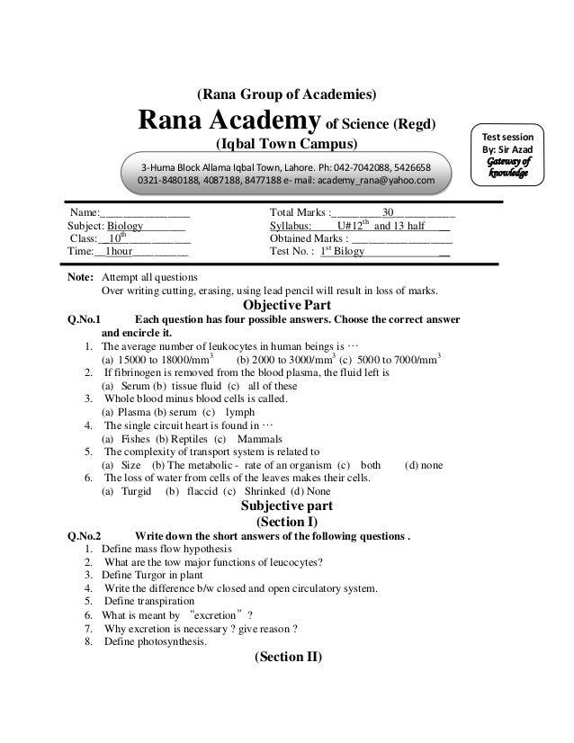 (Rana Group of Academies)               Rana Academy of Science (Regd)                                          Test sessi...
