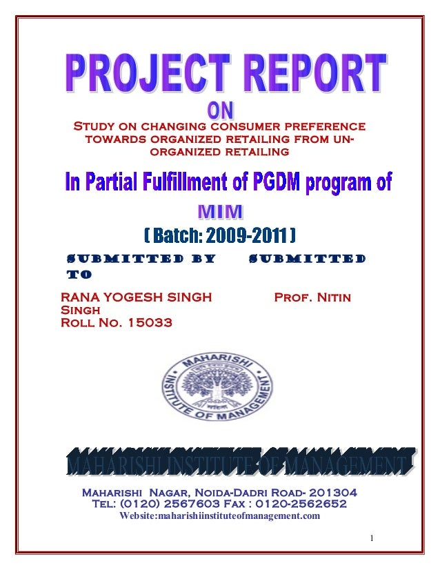 Dissertation Project Report On Marketing