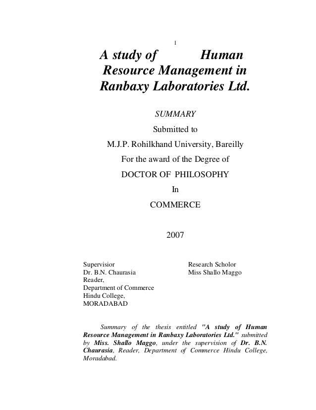 1     A study of     Human     Resource Management in     Ranbaxy Laboratories Ltd.                         SUMMARY       ...