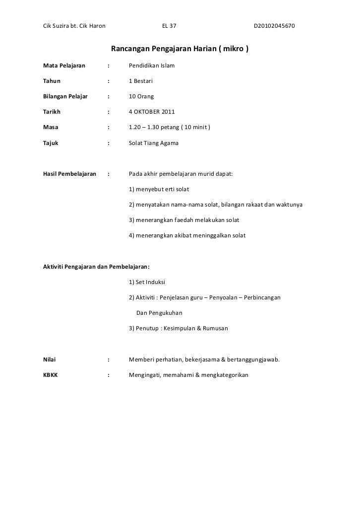 Rancangan Pengajaran Harian ( MIKRO )