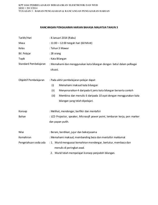 Rancangan pengajaran harian bm tahun 3 - kata bilangan