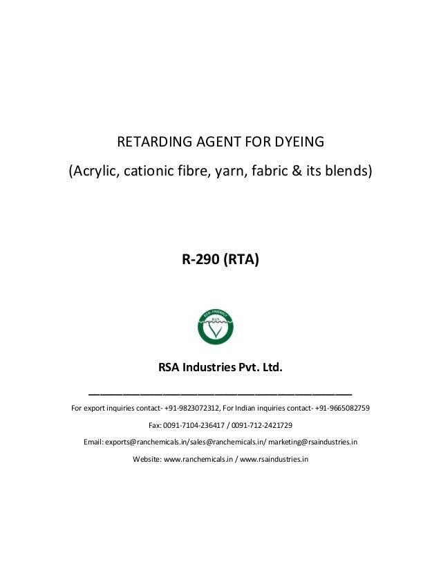 RAN Chemicals - Textile - Leveling - Acrylic - Retarding Agent for Dyeing - R-290-RTA