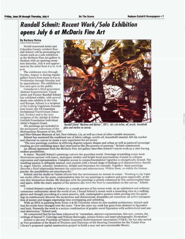 Randall Schmit:Recent Work / Solo Exhibition opens July 6 at McDaris Fine Art