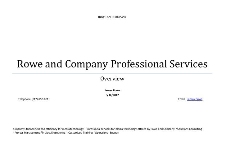 ROWE AND COMPANY   Rowe and Company Professional Services                                                                 ...