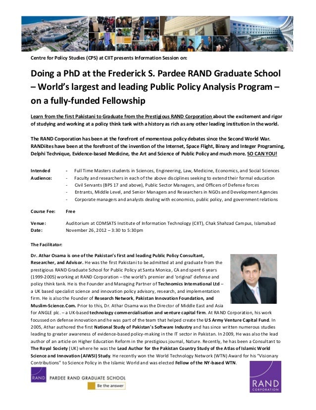 RAND Graduate School - PhD in Public Policy Information Session