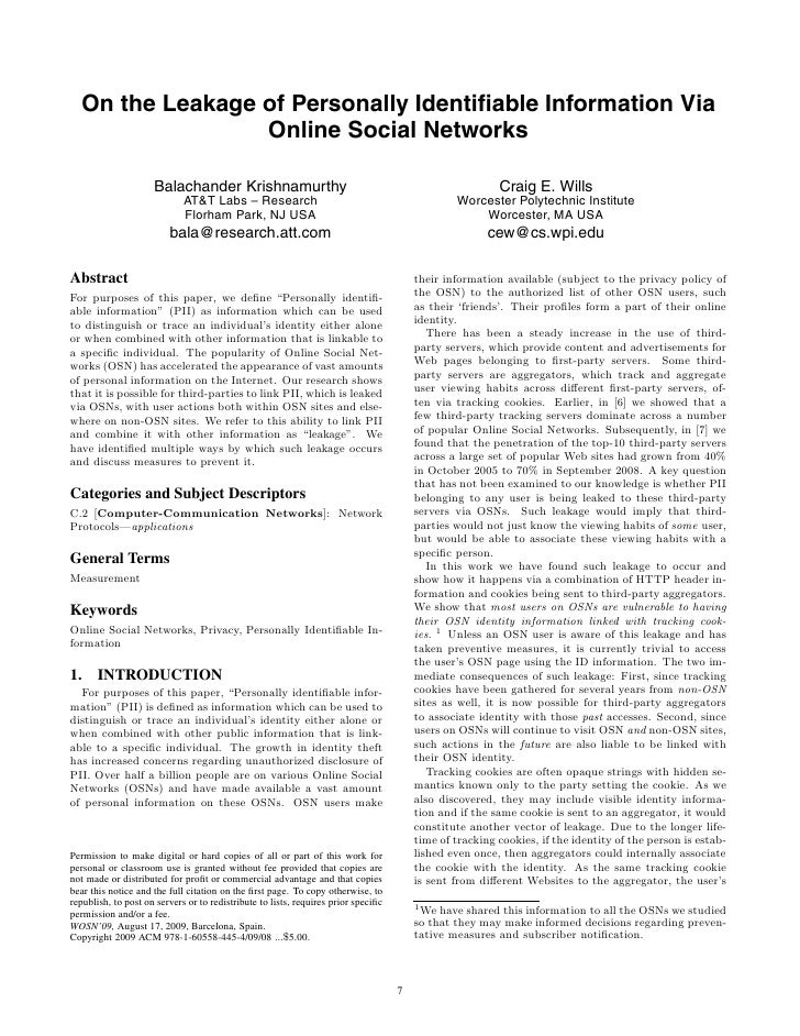 On the Leakage of Personally Identifiable Information Via                  Online Social Networks                       Bal...