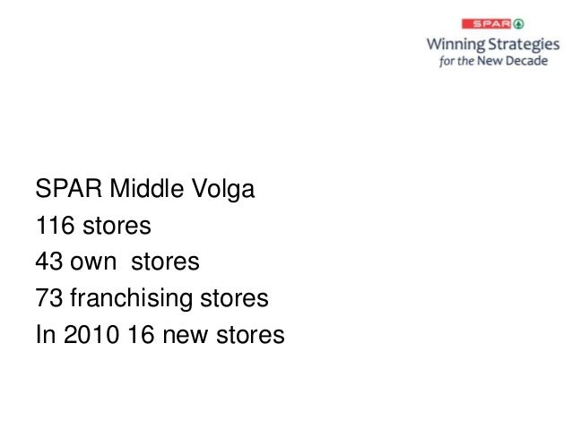 SPAR Middle Volga 116 stores 43 own stores 73 franchising stores In 2010 16 new stores